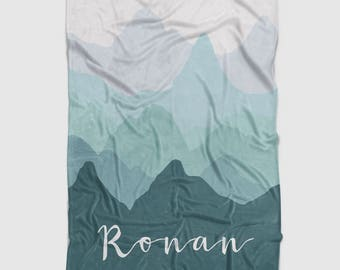 Personalized Minky Baby Blanket in Teal and Grey Ombre Mountains. It's so Buttery soft!
