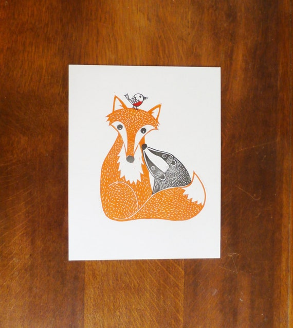 Fox, Badger and Robin, Original Linocut Print, Signed Open Edition, Free Postage in UK, Hand Pulled, Printmaking,