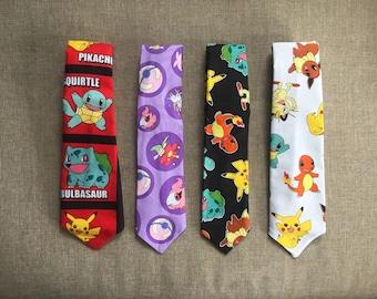 Pokemon Tie, Men's Neck Tie, Boy's Neck Tie, Tie Up Tie or Clip on Tie