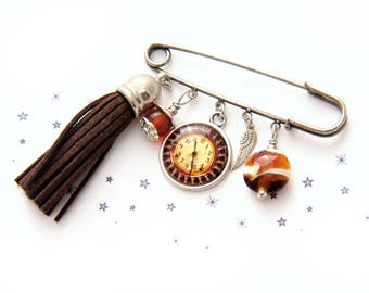 Lampwork Glass Bead tassel steampunk watch pin