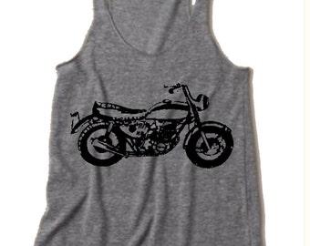 Womens Vintage MOTORCYCLE Tri Blend Tank Top American Alternative Apparel 4 Colors Small Medium Large XLarge Racerback