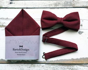 Burgundy Bow Tie Burgundy Pocket Square Set Bow Tie Handkerchief Wedding Set for Men Linen Bow Tie Claret Bow Tie for Men Handkerchief