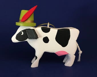 Cow in an Alpine Hat: Wooden Christmas Ornament