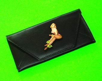 Pinup Girl Bathing Beauty Classic Black Rockabella Accordion Wallet Clutch Purse