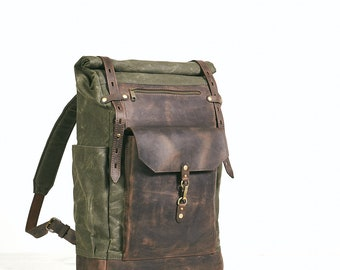 Waxed canvas leather backpack.  Mens Rolltop  backpack in deep green and brown. Waxed cotton rucksack