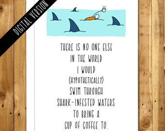Anniversary Card Download. Anniversary Card. Printable Anniversary Card. DIY Anniversary Card. Shark Infested Waters