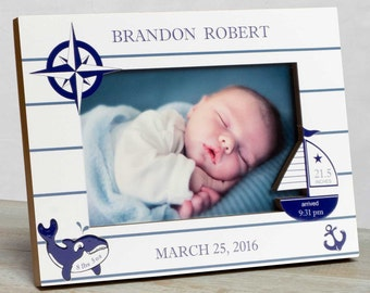 Personalized Baby Picture Frame, Baby Boy Picture Frame, New Baby Boy Frame, Baby Boy Frame, Baby Boy Birth Frame, Baby Nautical Frame