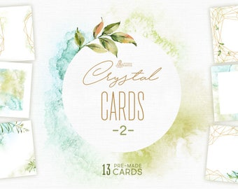 Crystal 2. Cards and Templates. Watercolor floral, polygonal pre-made clipart, frame, leaf, gold, green, geometry, wedding, bridal, minimal
