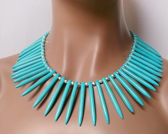 Turquoise Spike Necklace Wakanda Inspired SIlver Plated