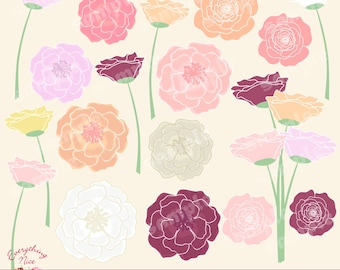 Beautiful Flowers Clipart Set