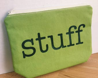 Large Accessory Bag with Stuff, Eco-Friendly Green Cotton & Blue Cotton with Fruit Print