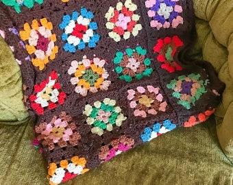 1970s Flower Power Afghan Blanket