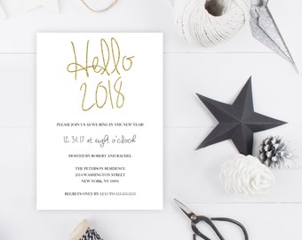 New Years Eve Party Invitation, New Years Invitation, Hello 2017, Ring in the New Year, Printable New Years Eve Invite, Happy New Year [88]