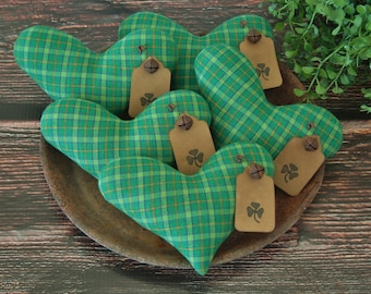Primitive St Patricks Day Shamrock Tags Heart Bowl Fillers ~ Homespun Fabric ~ St. Patrick's Day  ~ Spring Easter Farmhouse Pillows Ornies