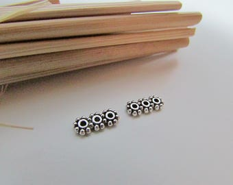 10 spacer bead 3 hole 1 mm - 10 x 4 mm - silver - 282.34