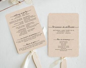 Wedding Fan Program Template - Rustic Wedding Fan Printable - diy Editable Wedding Fan - Print on Kraft - TEMPLETT - Brianna