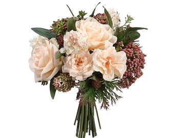 Rose, Lilac and Thistle Silk Wedding Bouquet in Peach Green