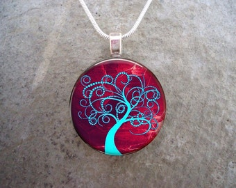 Tree Jewelry - Glass Pendant Necklace - Tree of Life Jewellery - Tree 12