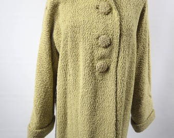 Vintage Virgin Wool Coat Chartreuse Sm/Med