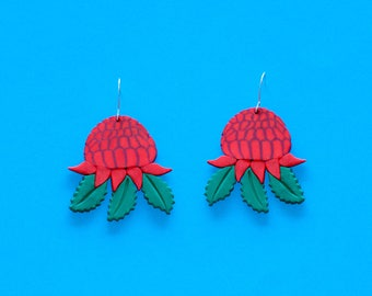 Waratah Earrings - Sterling Silver - Australiana