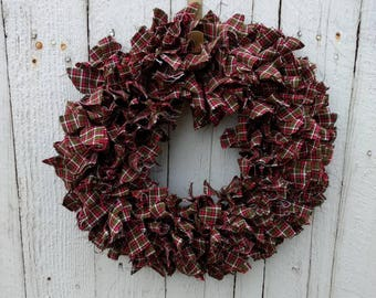 Red and Green Plaid Rag Wreath