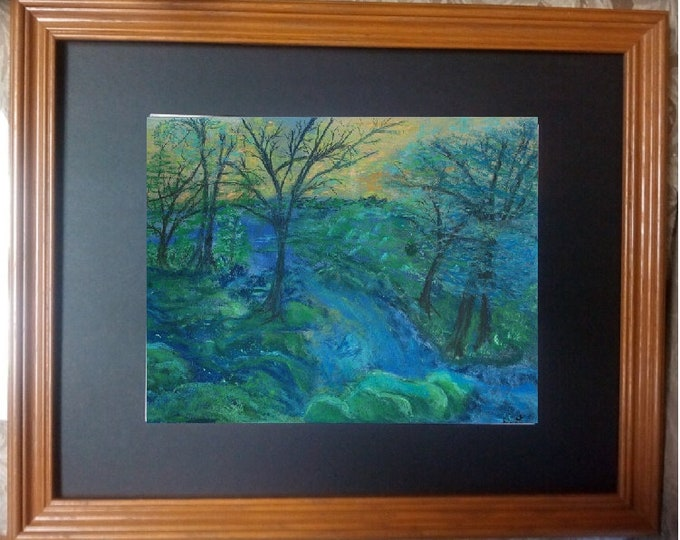 "11x14 Original Pastel Painting, Landscape Artwork, ""Blue on Blue Forest"""