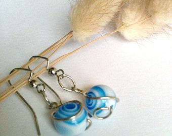 Blue and White Spiral Swirl Earrings, Wire Wrapped Earrings Handmade, Dangle Earrings