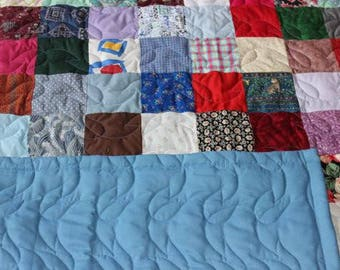 Throw Quilt - Scrappy Patchwork Quilt - READY TO SHIP Quilt - Throw Size Quilt - Blue Backing - Patchwork Quilts