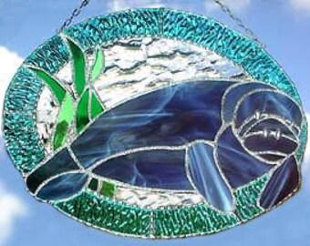 """Suncatcher Stained Glass, lamantin Sun Catcher, décor nautique, Tropical Home Decor, verre lamantin, Tropical Sun Catcher, 10 """"x 12"""" - 9534"""