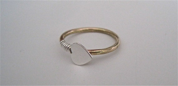 Gold and Silver Heart Ring Sideways Heart Ring Valentines