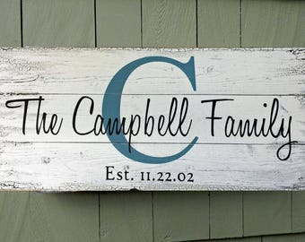 Personalized Family Name Sign, Pallet Name Sign, Shabby Chic Sign, Personalized sign, Vintage Name Signs, Rustic Name Sign, established sign