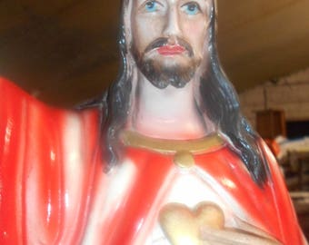 Antique french statue of Jesus, Sacred Heart.