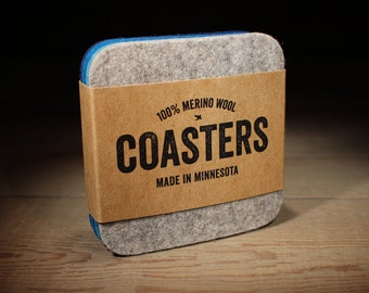 Coasters - Absorbent 100% Merino Wool - Thick German-milled Felt - Blue and Gray Square Coasters- Lightfast Colors - Natural and Renewable