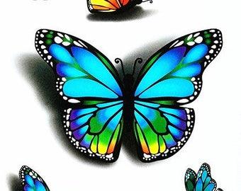 Temporary tattoo 3D butterflies design.