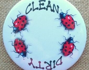 Dishwasher Magnet, Dirty or Clean, Dishes, 3.5 Inch, Original Art, Ladybugs, Ladybird Art, Insects, Kitchen Art