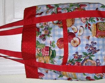 Foodie Tote Bag Red with Apples Grapes Oranges & Jam Jars