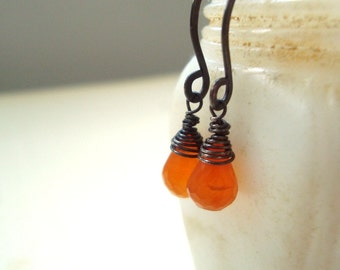 Carnelian Earrings, Oxidized,Wire Wrapped, Sterling Silver, Modern, Fall Fashion Gifts Under 40 Gemstone Earrings