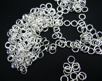Jump Ring Jumpring Connectors Opened Round Silver ptd 22ga, 3mm, 100 Qty