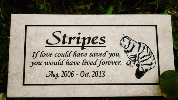 "Cat Memorial plaque. 12x6 Maintenance Free Italian Porcelain Stone Tile- ""Stripes"" Design"