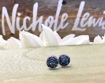 Navy Blue Stud Earrings