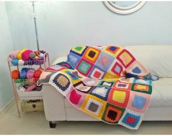 Crochet Blanket, Crochet Afghan, Crochet Granny Square Blanket, Crochet Throw