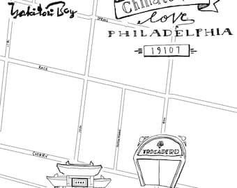 Chinatown Hand-Drawn Map Philadelphia 8x10