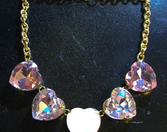 Pink Opal Hearts Necklace - Large Crystal Necklace w/ Pinks, Crystal Opals, & Silver - Delicate Statement Costume Jewelry