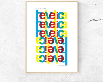 Helvetica Font Type Poster, Matte and Giclee Art Prints. Wall Art, Home Decor, Graphic Art Prints, Study Art Prints