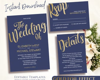 Navy Gold Wedding Invitation Template Printable Gold and Navy Invitation Set, Gold Foil Printable, Navy Gold Invitations Instant Download