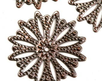 30 Pcs Antique Copper Tone Brass 25 mm filigree connector Charms ,Findings 404AB-34