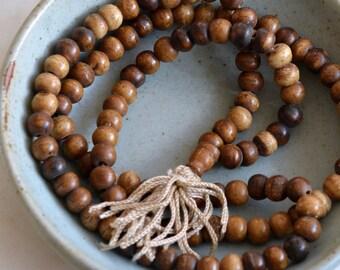 Bone Beads, 8mm Brown Bone Beads, 108 Beads, Natural Bone Mala, Tibetan Bone Mala, Prayer Beads, Ethnic Beads, Antiqued Bone,  LUM16-1210
