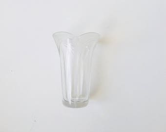 Art Deco Tulip Frosted and Clear Glass Vase
