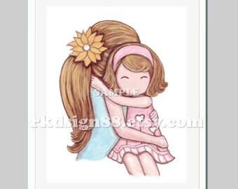 Mother's Day Gift - mother daughter art - hug - girls room art - nursery decor - children prints - home decor - you are my sunshine - blond