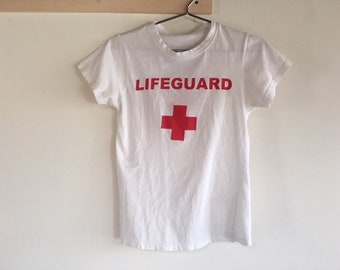 Very Cute Vintage Lifeguard T-Shirt Size Small